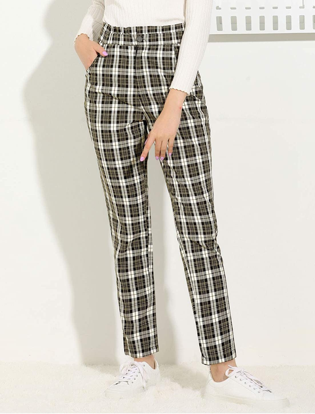 What Did Women Wear in the 1950s? 1950s Fashion Guide Allegra K Womens Plaid Ankle Pants Tartan Check Elastic High Waist Work Trousers $24.99 AT vintagedancer.com