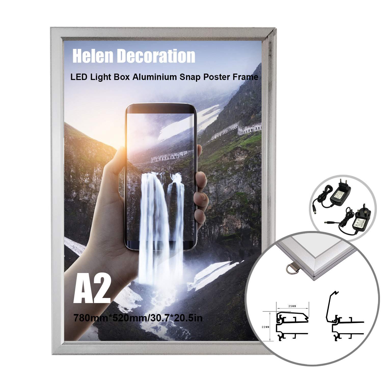 Argent, A4| 33,02*25,4*2,31cm Cadre Affiche A4 LED en aluminium Cadre Photo Argent pour Publicitaire Poster en Aluminium Cadres dimage pour le mur D/écorez le cadre pour les photos