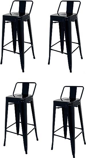 La sedia spagnola t/ólix Pack di sgabelli con schienale Giallo Acciaio Inox 43/x 43/x 76/cm