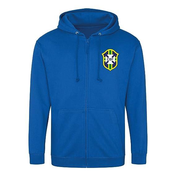 6590f482 Print Me A Shirt Retro Brazil Brasil Football Zipped Hoodie Royal ...
