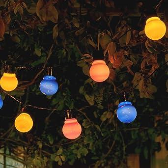 Auraglow - Juego de 10 farolillos solares de guirnalda de luces LED, diseño retro de jardín, multicolor: Amazon.es: Bricolaje y herramientas