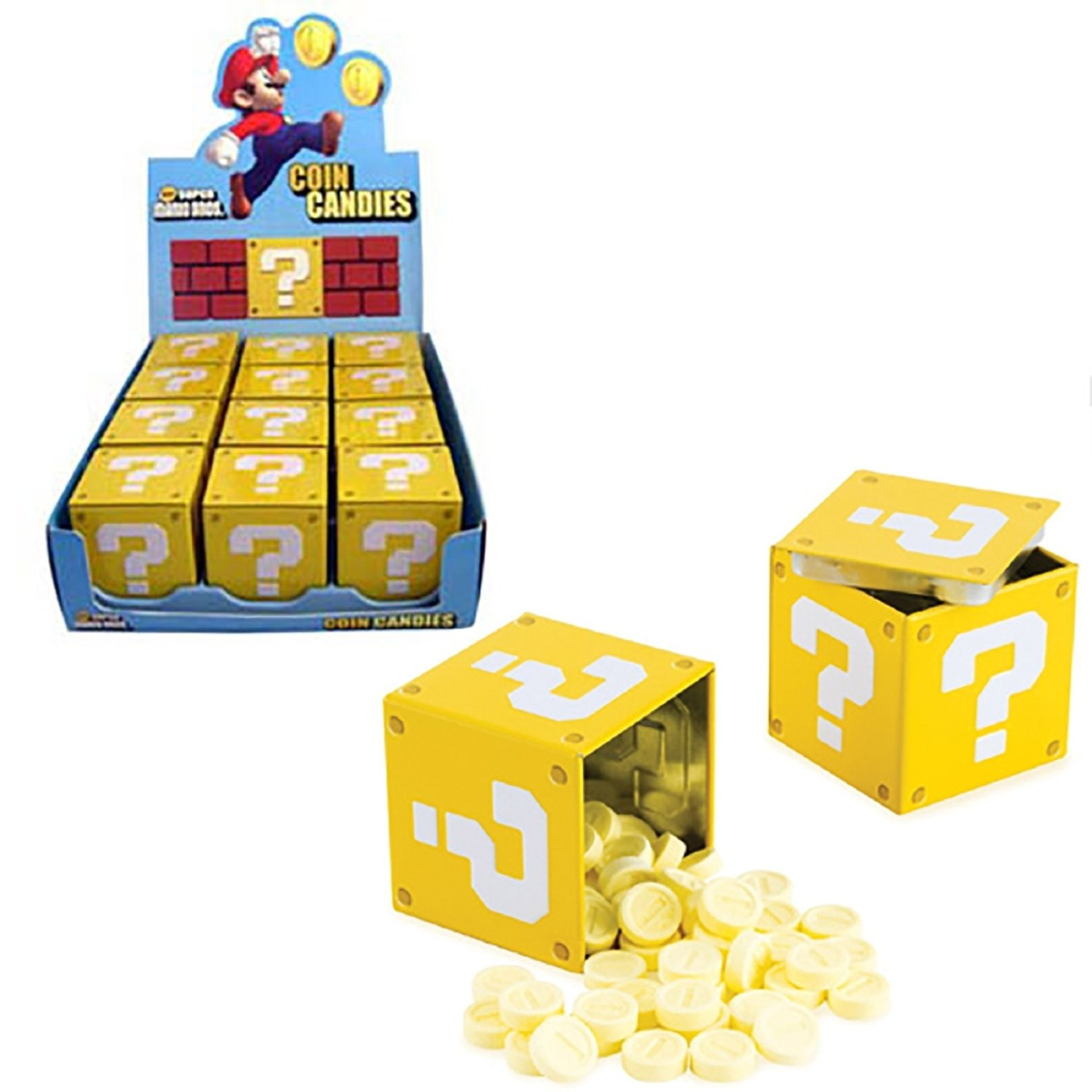 Nintendo Super Mario Question Mark Box Coin Candy - 12-box Case by Boston America