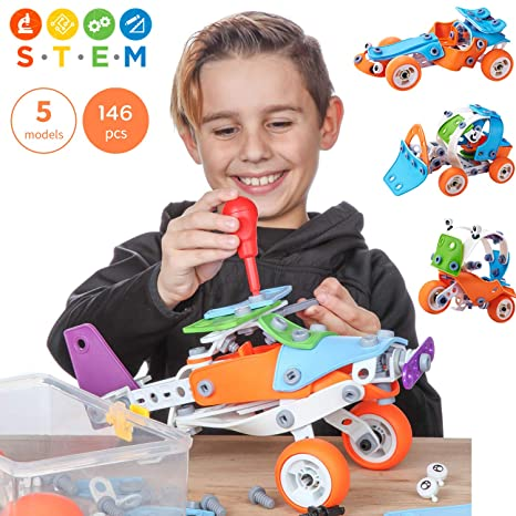 1245bc5be Toy Pal | STEM Toys for Boys | 146 Piece Educational Engineering Building  Toys Set for Boys & Girls Ages 7 8 9 10 Years Old | 5, 6 Year Old can Build  with ...