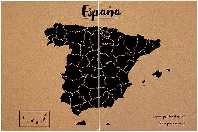 Miss Wood Mapa de España de Corcho, Pino, Negro, L-45x60CM: Amazon ...