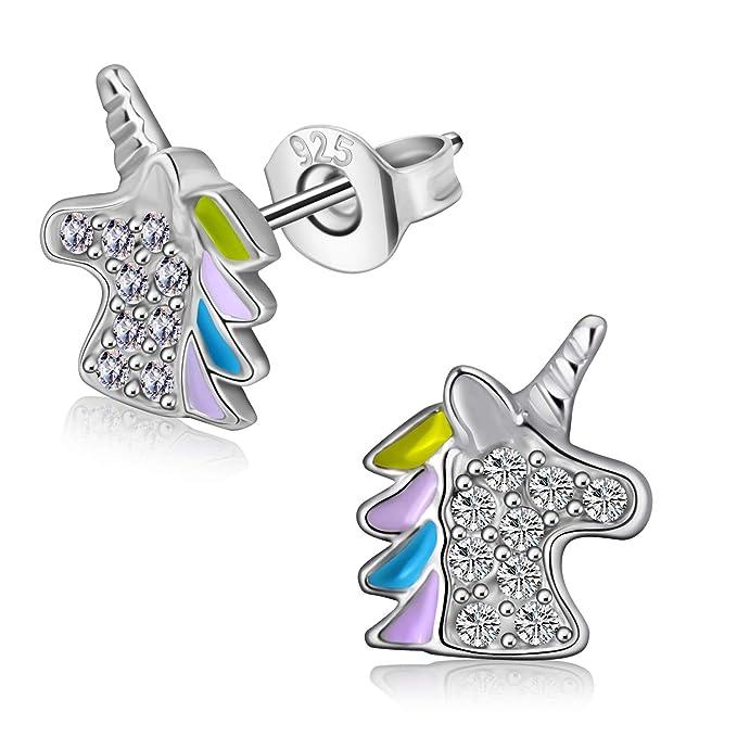 Pendientes de joyería de unicornio, pendientes 925 no alérgicos, joyas para fiestas de cumpleaños de niñas o mujeres…
