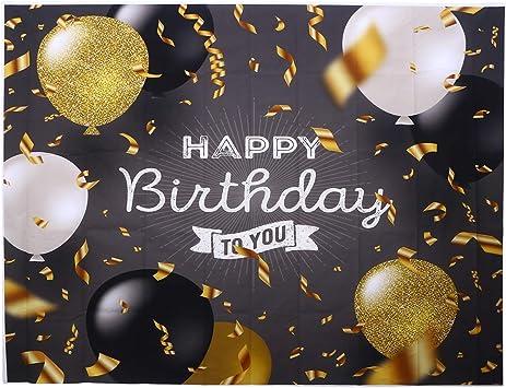 Uonlytech Happy Birthday Hintergrund Golden Ballon Szene Foto Fotografie Hintergrund Tuch Studio Prop Foto Hintergrund Wandbild Schwarz Küche Haushalt