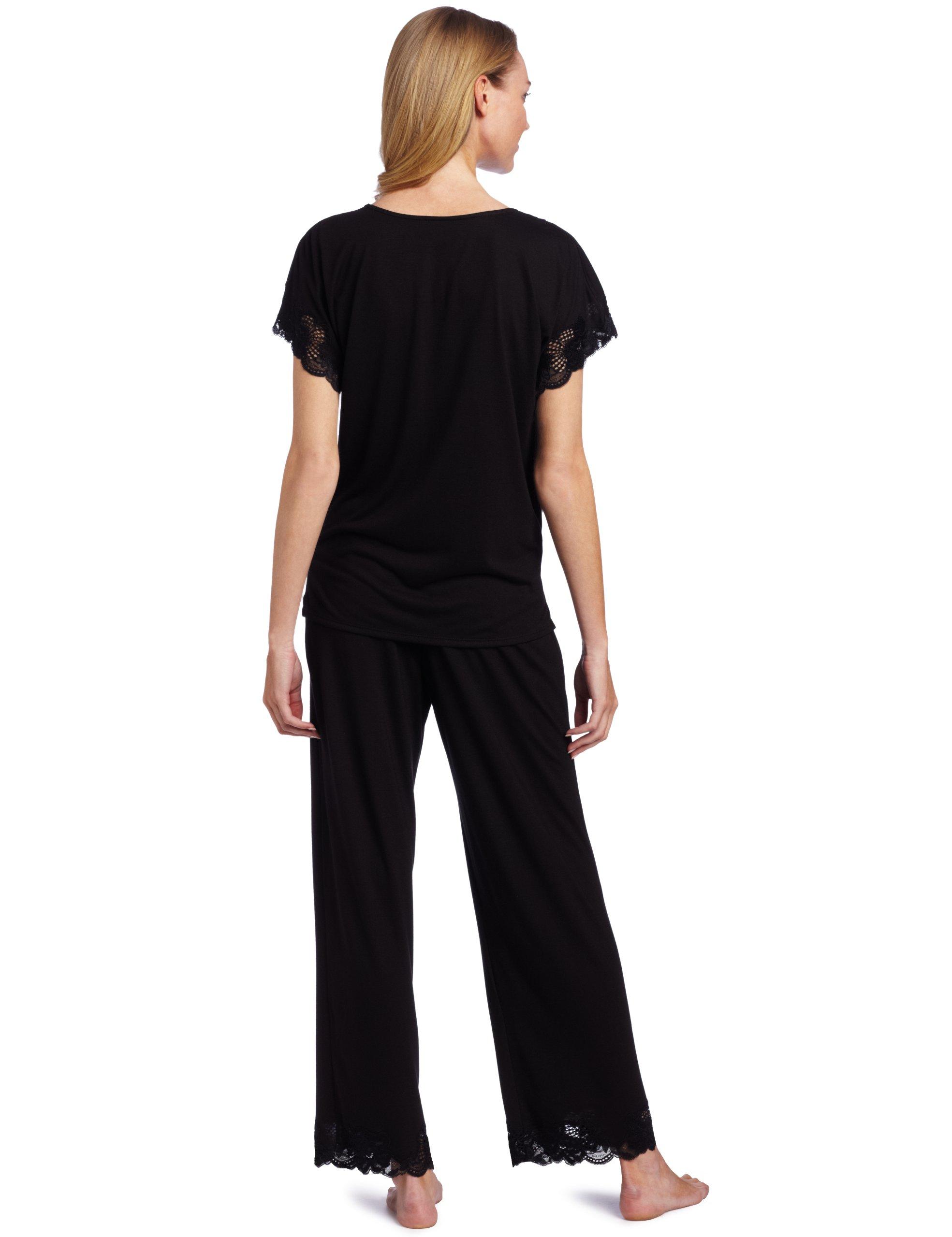 Natori Women's Plus-Size Zen Floral Pajama Set, Black, 2X by Natori (Image #2)