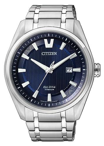 Citizen Super Titanium - Reloj de Cuarzo para Hombre, con Correa de Titanio, Color Plateado: Citizen: Amazon.es: Relojes