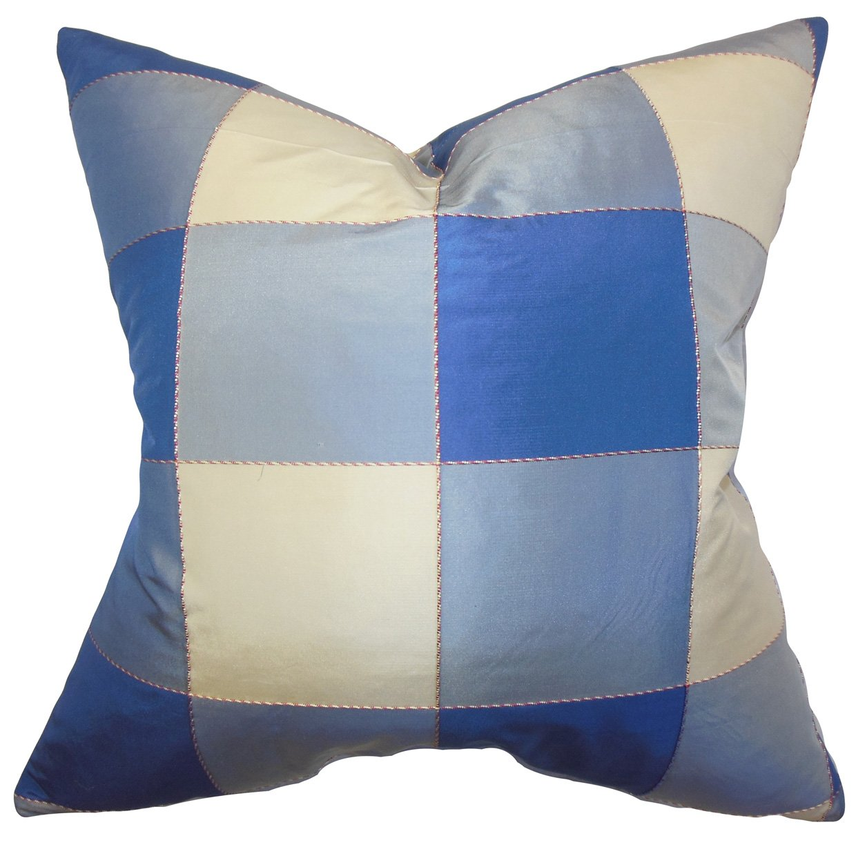 Blue The Pillow Collection Keats Plaid Pillow