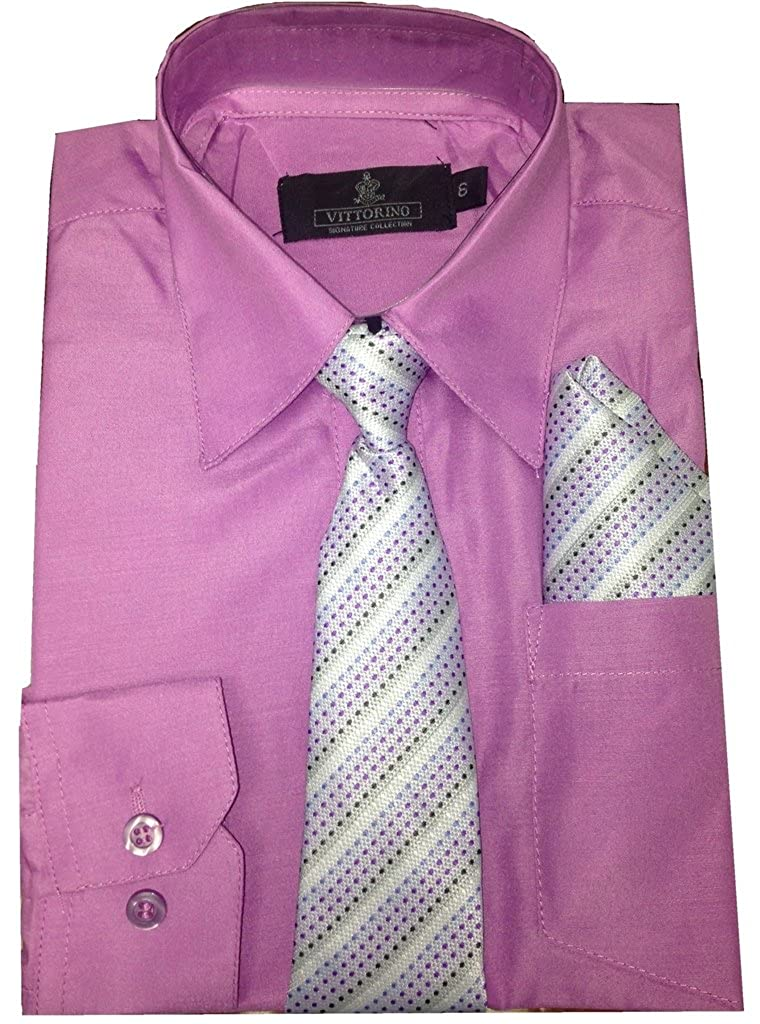 Vitorino Boys Long Sleeve Button Down Dress Shirt with Tie and Handkerchief