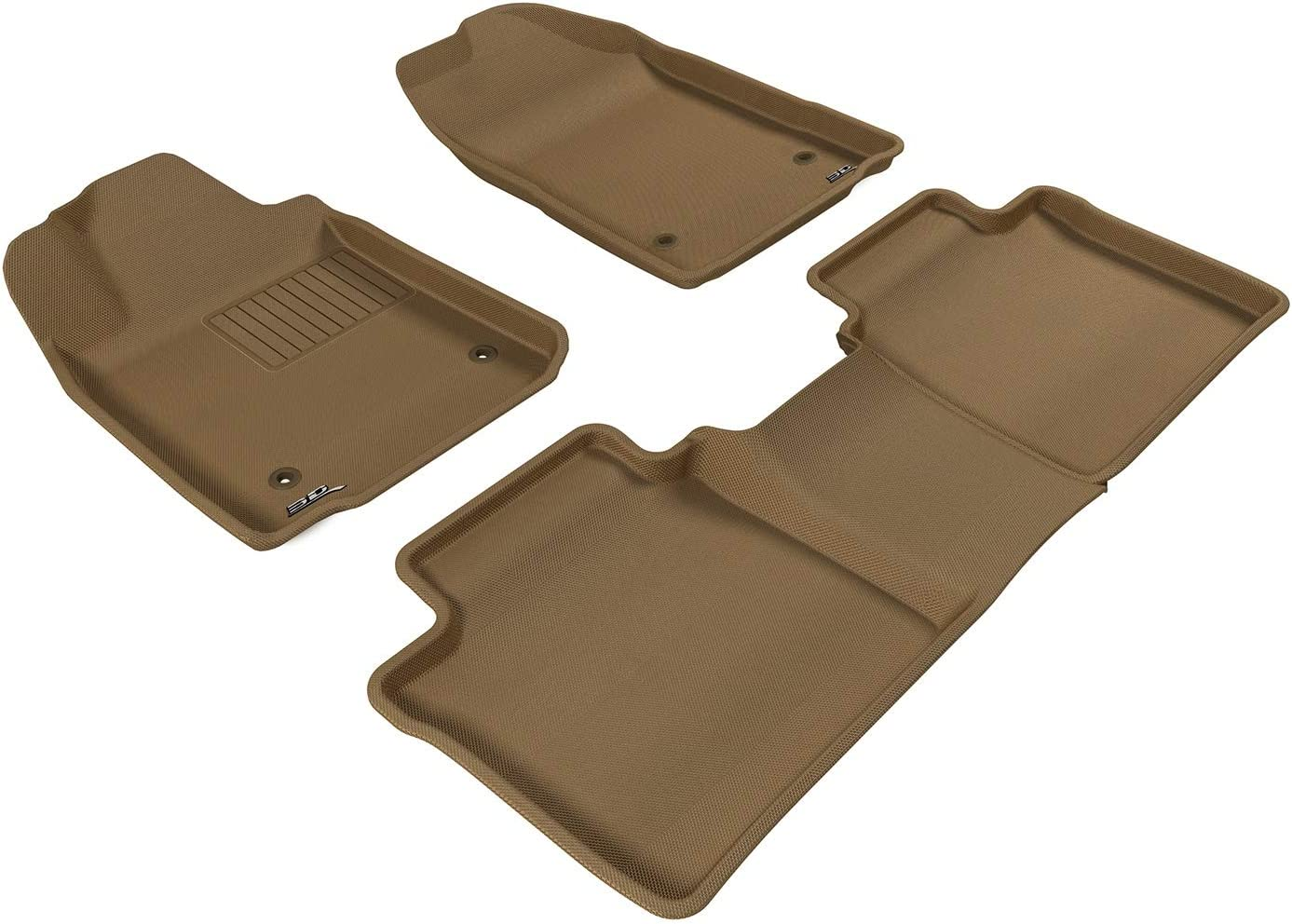 Tan 3D MAXpider Complete Set Custom Fit All-Weather Floor Mat for Select Lexus ES350 Models Kagu Rubber