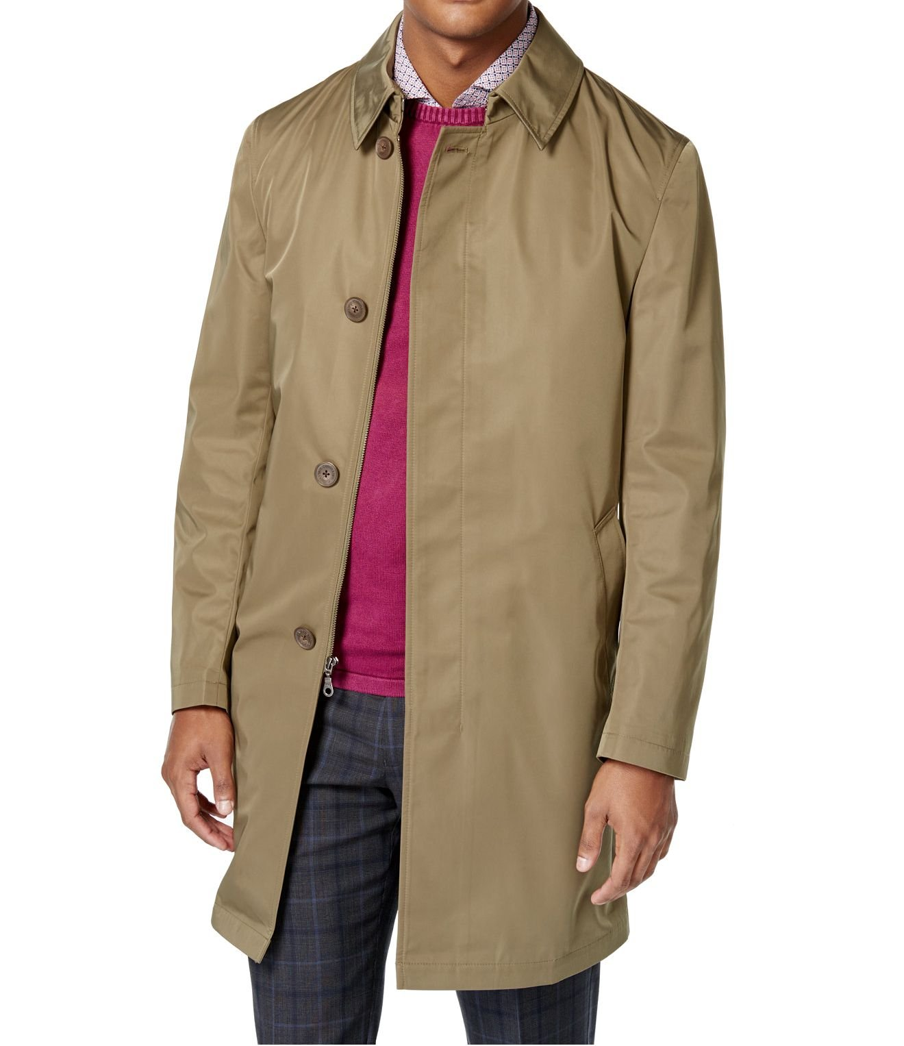 Calvin Klein Extreme Slim Olive Solid Zip & Button New Men's Melford Rain Jacket (40 Regular)