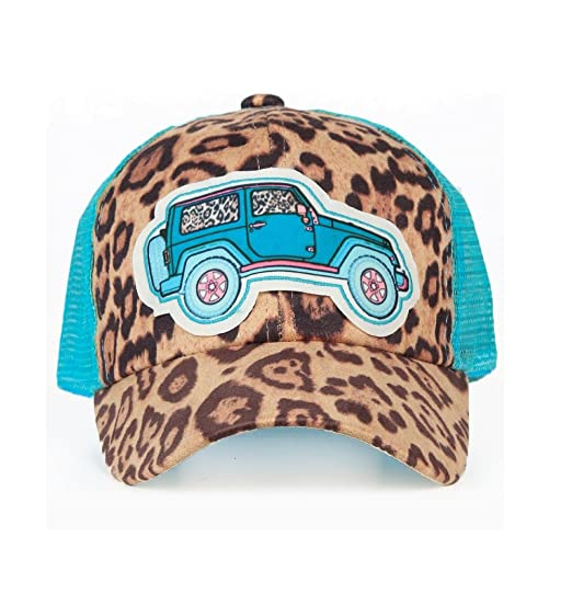 58003babac1 Southern Junkie Cheetah Leopard Western Hat Cap Brown Mesh Turquoise Blue  (Jeep)