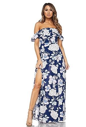 7bd159feb6e9f Timeless Gala Off Shoulder Floral Print Slit Maxi Dress (Navy, Small)