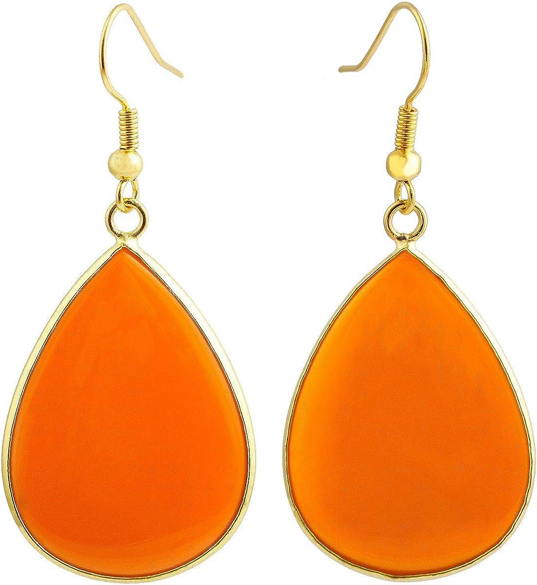 Pera Stone Natural Pink and Orange Dangle Earrings