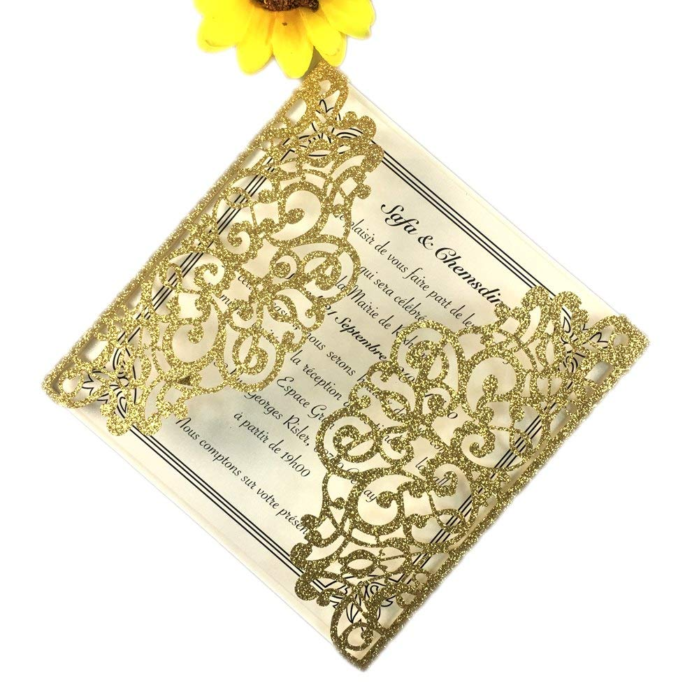 50 Sets Square Gold glitter Laser Cut Vintage Wedding Invitations Cards Hollow Floral Exquisite Carving Greeting invites cards 4 Engagement Birthday Bridal Show (gold glitter)
