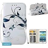 Galaxy S3 mini Hülle CASELAND [Ursprünglicher Entwurf Blaue Blume] PU Leder Blatt Schutzhülle Brieftasche Stehen Protective Cover mit Kartensteckplätze Magnetisch Spange Flip Hülle für Samsung Galaxy S3 mini i8190