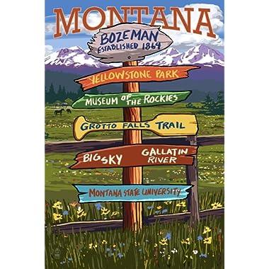 Bozeman, Montana - Destination Signpost (12x18 Fine Art Print, Home Wall Decor Artwork Poster)