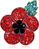 Red Poppy Brooches Lapel Pin Badges Diamante Crystal Banquet Red Poppy Flower Remembrance Day Gift Black Plated Green Leave