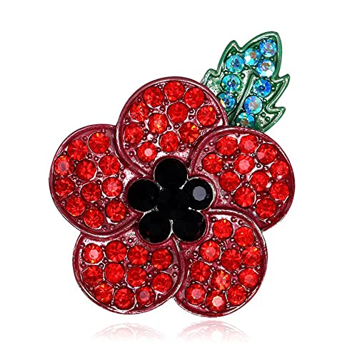 Littleduckling 2pack Poppy Brooches Lapel Pin Badges Diamante Crystal  Banquet Red Poppy Flower Remembrance Day Gift Black Plated Green Leave
