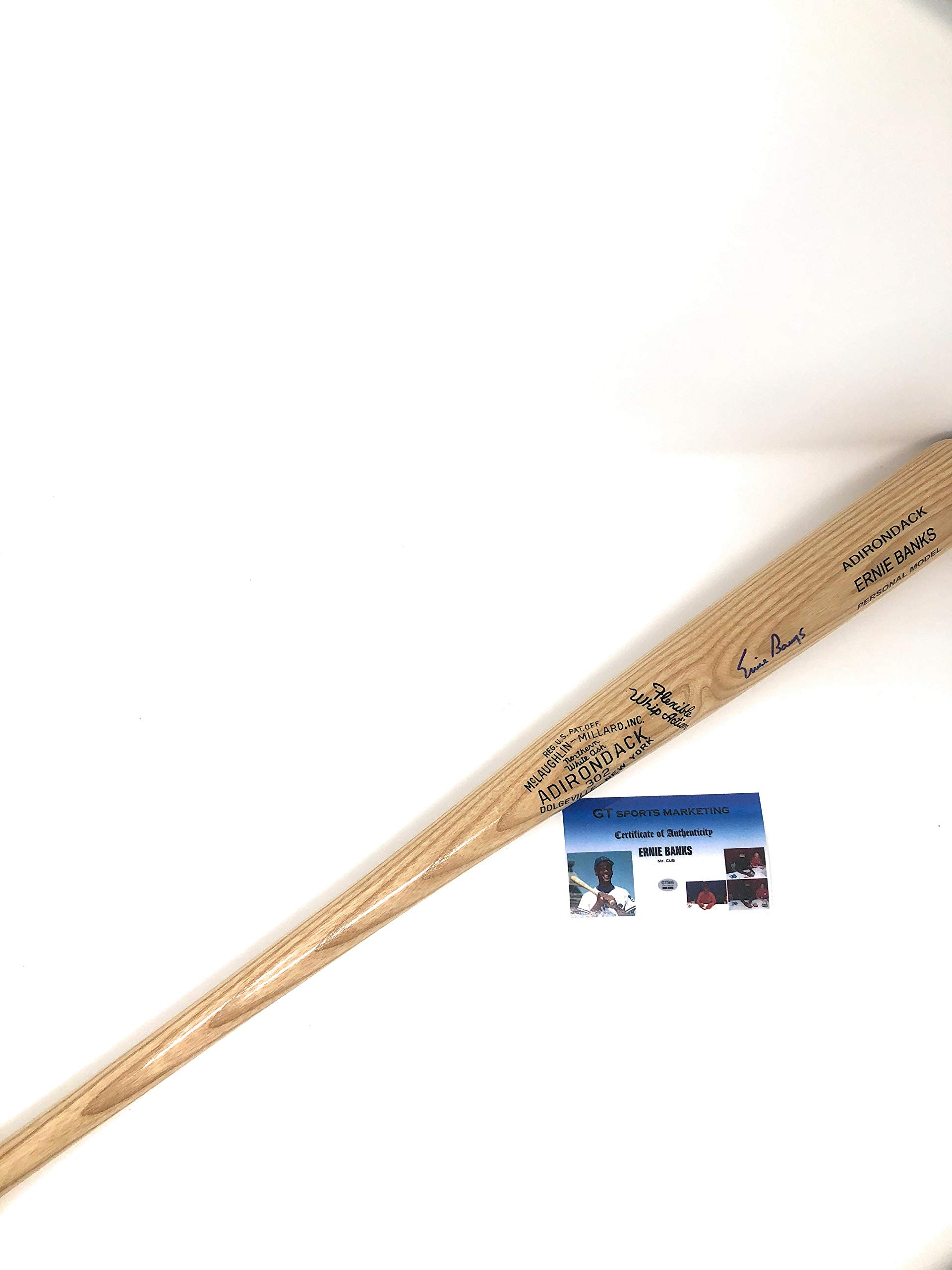 Ernie Banks Chicago Cubs Signed Autograph Name Engraved Throwback Baseball Bat GTSM Sports Certified