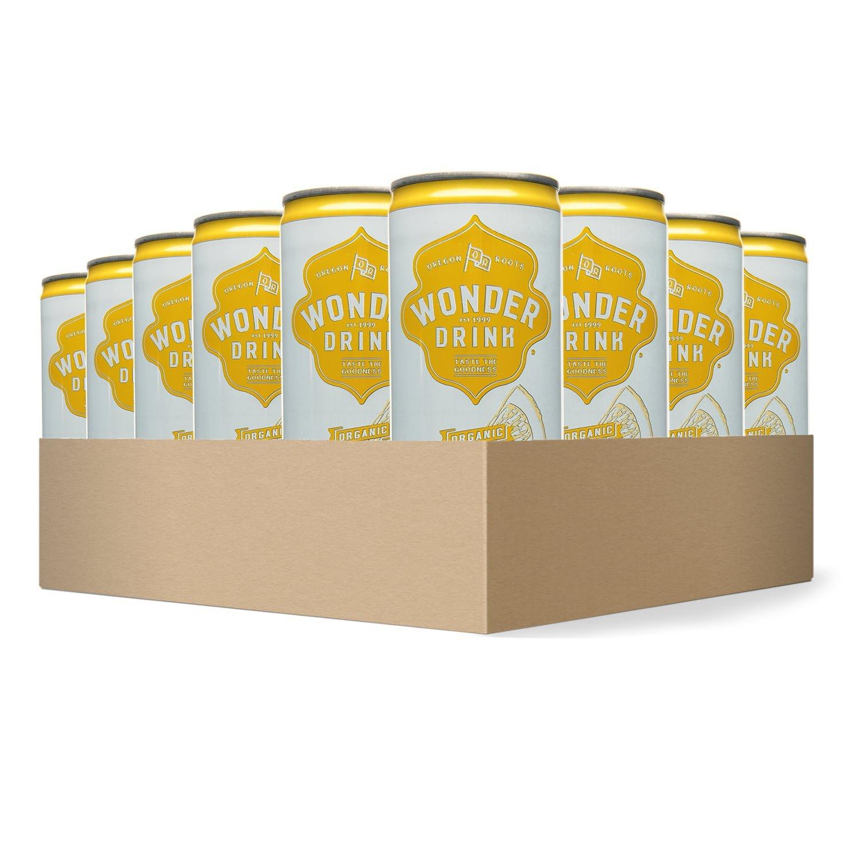 Wonder Drink Kombucha, Organic Green Tea with Lemon Sparkling Fermented Tea, 8.4oz Can (Pack of 24) - Packaging May Vary