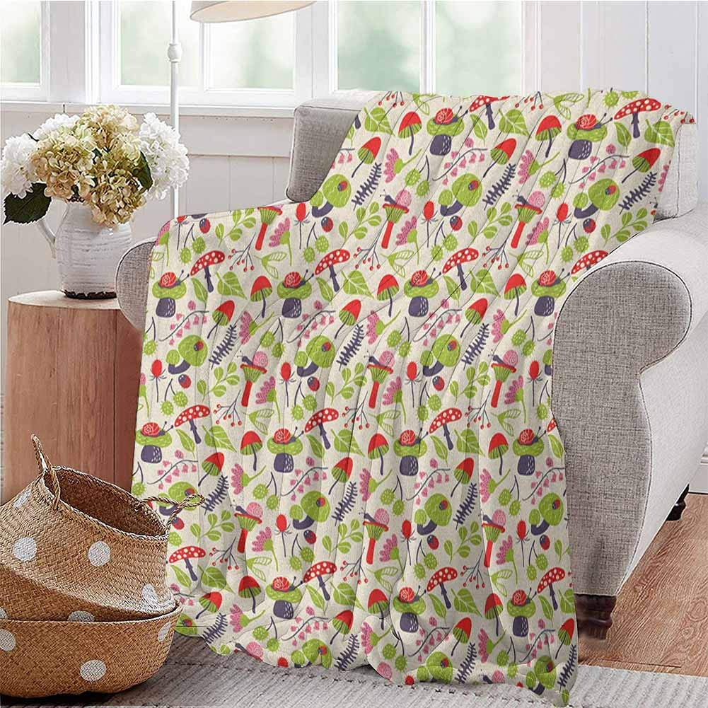 Luoiaax Mushroom Children's Blanket Forest Life Themed Pattern with Ladybird Snail Flower and Leaf Childish Characters Lightweight Soft Warm and Comfortable W60 x L70 Inch Multicolor by Luoiaax