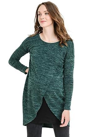 5dc00d67dff7b Hello MIZ Women's Sweater Knit Long Sleeve Maternity Nursing Tunic Dress ( Green/Black,