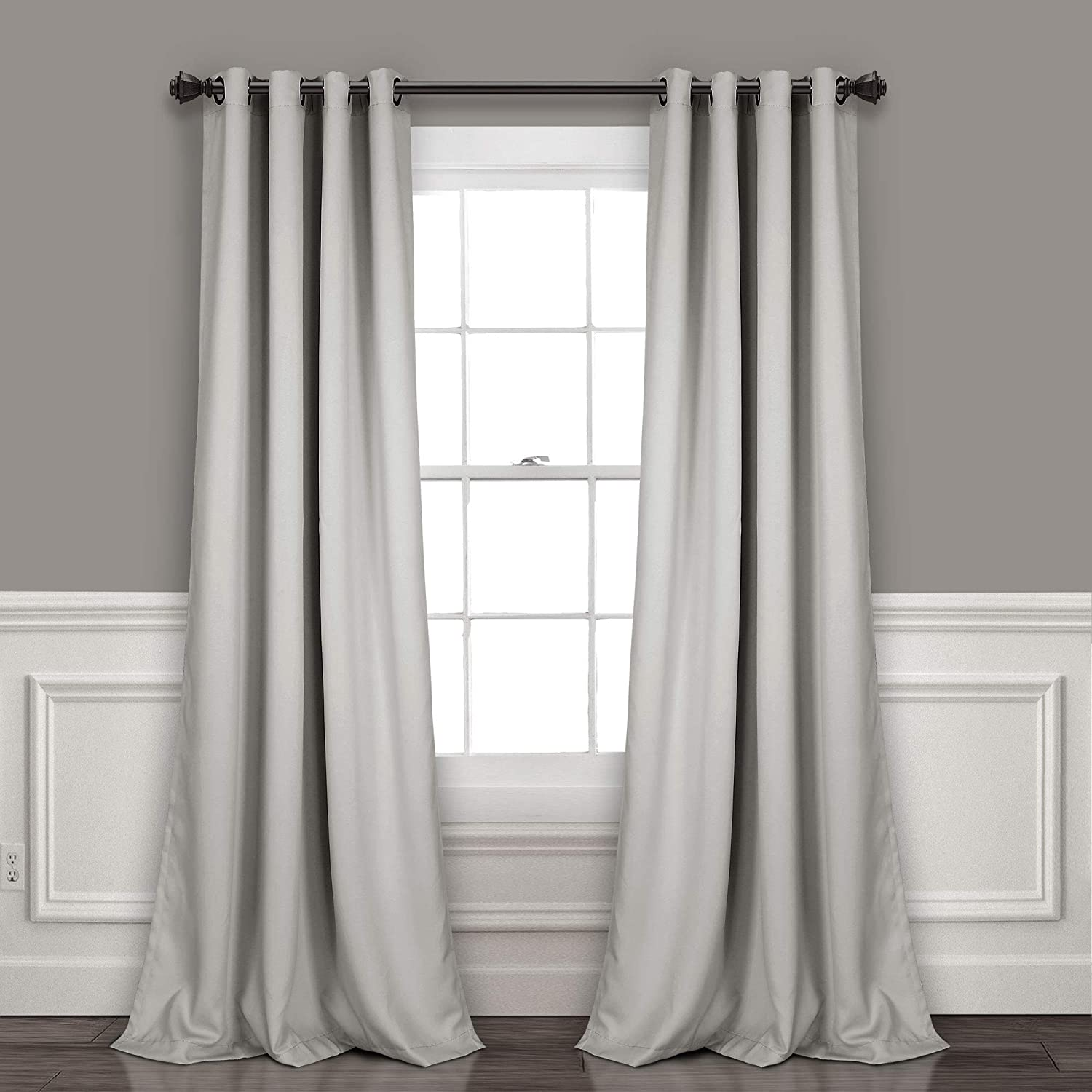 "Lush Decor Curtains-Grommet Panel with Insulated Blackout Lining, Room Darkening Window Set (Pair), 84"" L, Light Gray"