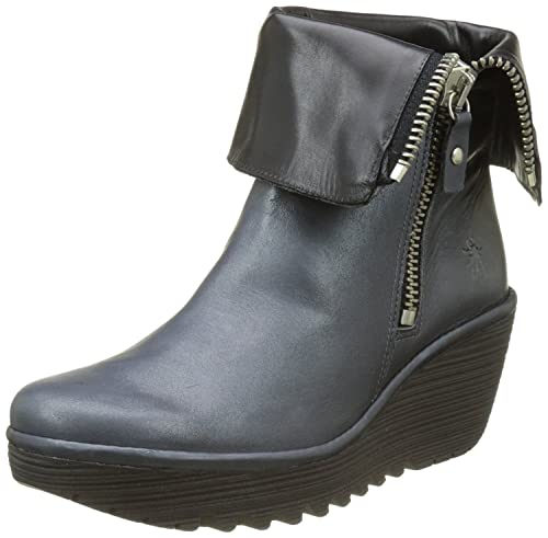 cc4ada0df5f Fly London Yex Blue Black Leather Womens Mid Calf Wedge Boots-41 ...