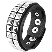 Unisex Punk Rock Biker Wide Strap Thick Leather Bracelet Made from Faux Leather and Alloy Metal