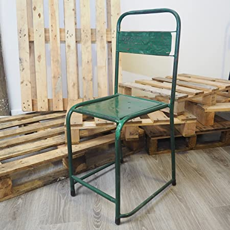 Vintage Reclaimed Industrial Metal Stacking Chairs   6 Colours (Green)