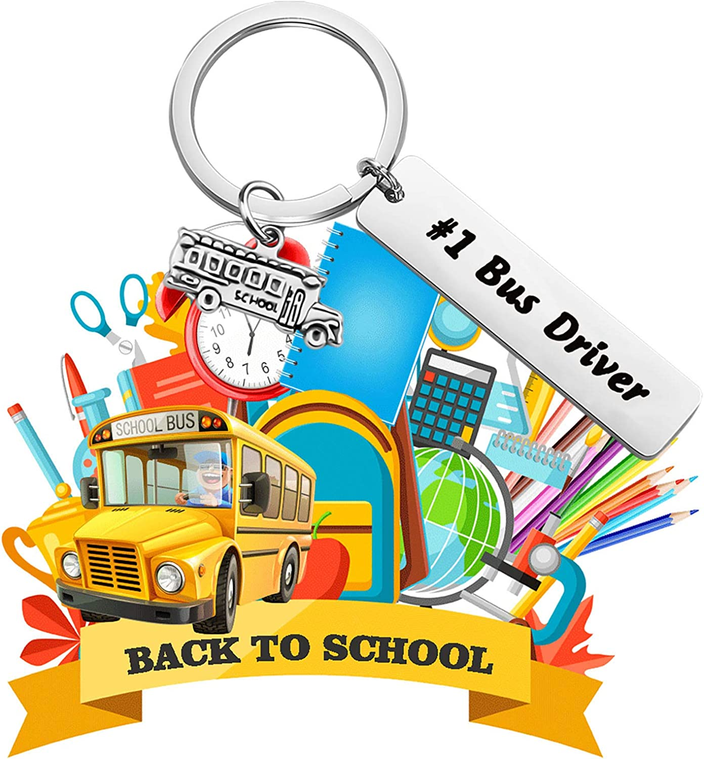 bobauna Bus Driver Keychain #1 Bus Driver School Bus Appreciation Jewelry End of Year Gift for Driver