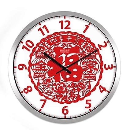 ASL Año Nuevo Escarlata Letra Tiempo Reloj de Pared de la