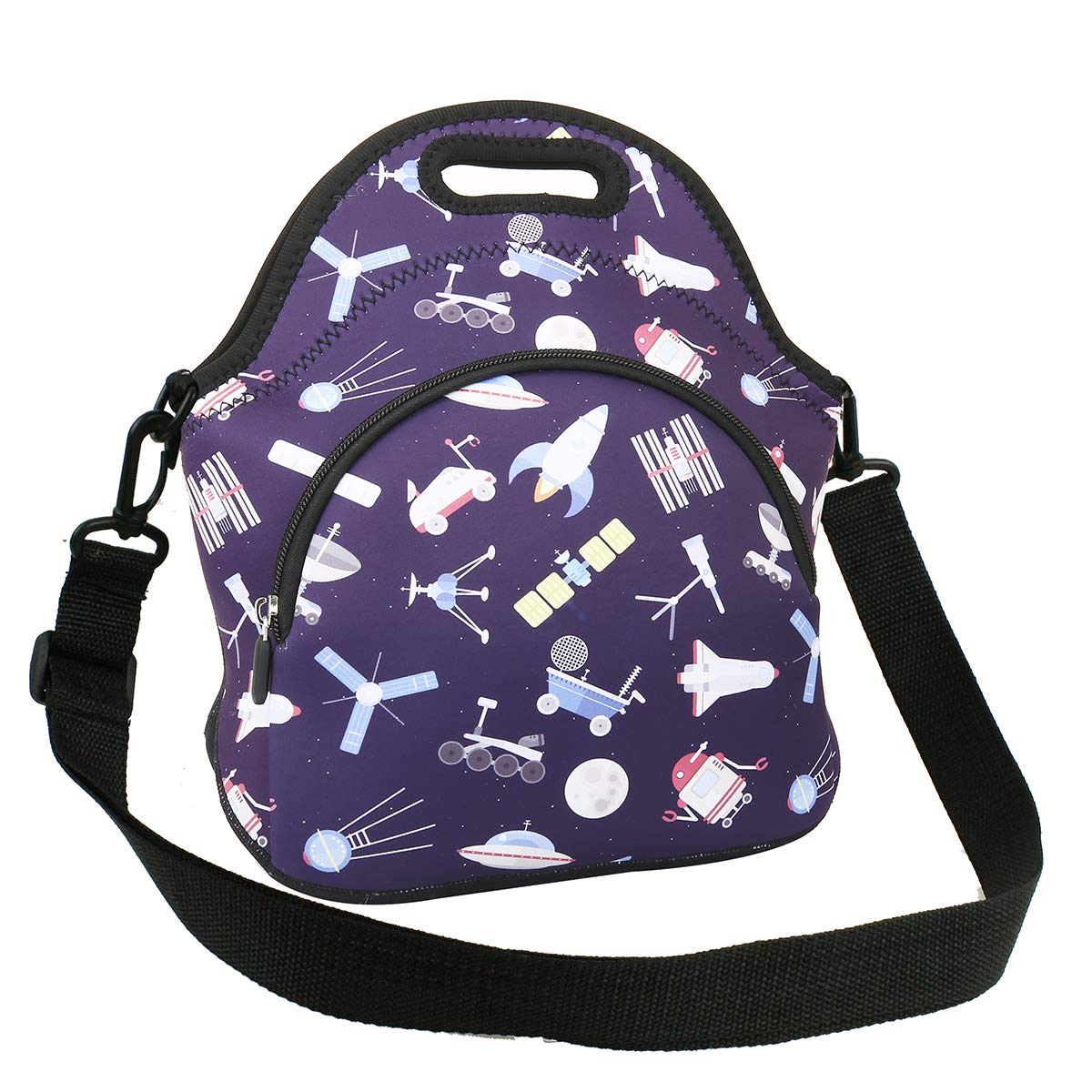 Neoprene Lunch Bag Reusable Black Tote Bag Cool Astronaut Insulated Lunch Box Handbag Fordable