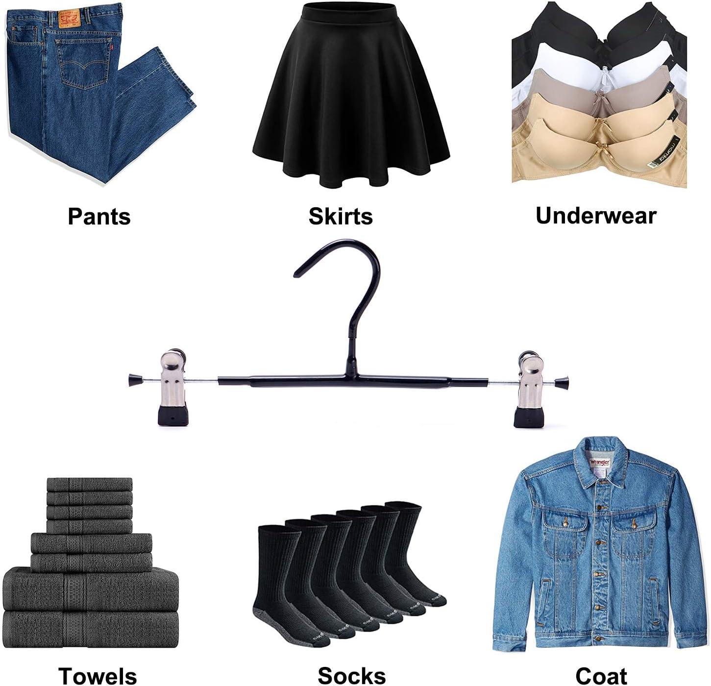 VEHHE Percha para pantal/ón y Faldas con Clips Ajustables 20 Unidades Negro Perchas para Ropa Pantalones Cortos para Vaqueros Perchas con Recubrimiento de Goma Antideslizante Ahorro de Espacio