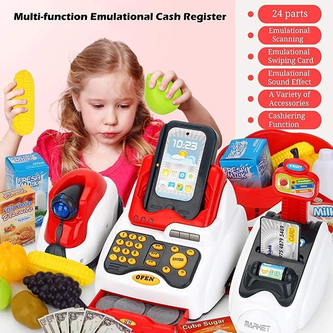 LVPY Kaufladenzubehör, 24-TLG Registrierkasse Spielkasse mit Scanner inkl. Münzen für Rollenspiel Kaufladenzubehör für ab 3 J