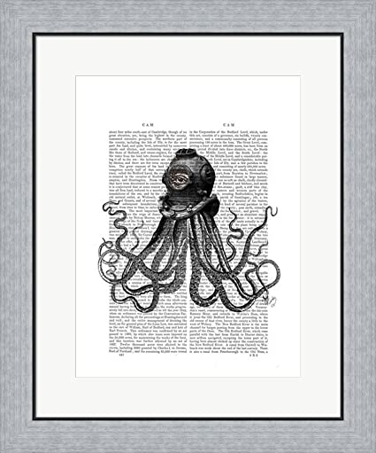 Amazon com: Octopus and Diving Helmet by Fab Funky Framed Art Print