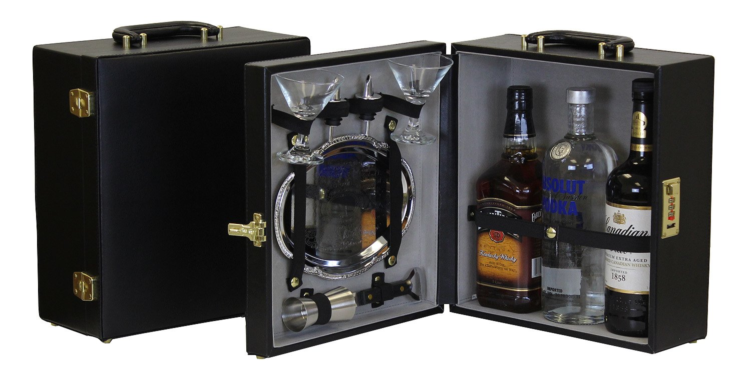 Portable Travel Bar with Serving Tray - 3 Bottle Size by Trav-L-Bar
