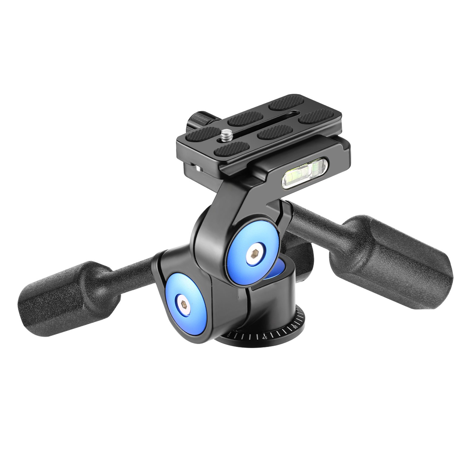 Neewer Camera Video Tripod Head Handle Ball Head 360 Degree Rotation, with 1/4 inch Quick Shoe Plate for Tripod, Monopod, Camera Slider, Light Stand and DSLR Cameras, Load Up to 22 pounds (3-Way) by Neewer