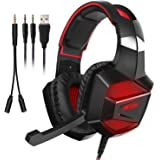 Gaming Headphones with Microphone, Latow Video Game Headphone Wired Professional Gaming Headset Noise Cancelling Black Over Ear Earphones for PS4 Xbox One iPhone Mac PC Laptop