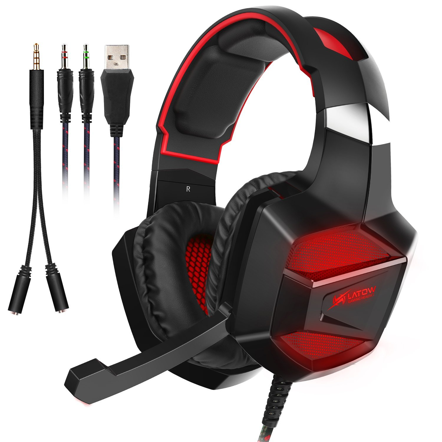 LATOW Stereo Gaming Headset for PS4, Xbox One, Nintendo Switch Games, PC, Surround Sound Over-Ear Headphones with Noise Cancelling Mic, Soft Memory Earmuffs, 40mm Driver, 7 Colors LED Gaming Headset