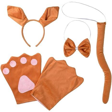 dressforfun 302038 -Accesorios de Disfraces Kit Canguro Niño Niña Diademas con Orejas y Guantes con