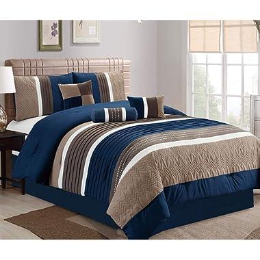 JBFF Queen 7 Piece Collection Bed in Bag Luxury Stripe Microfiber Comforter Set