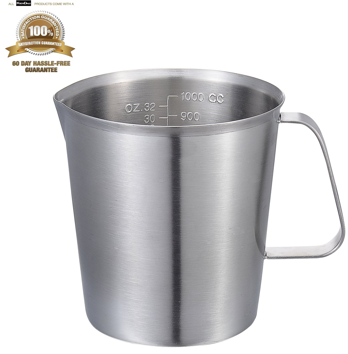 1000mL Measuring Cup, KSENDALO Stainless Steel Measuring Cup with Marking with Handle, 32 Ounces (1.0 Liter, 4 Cup)