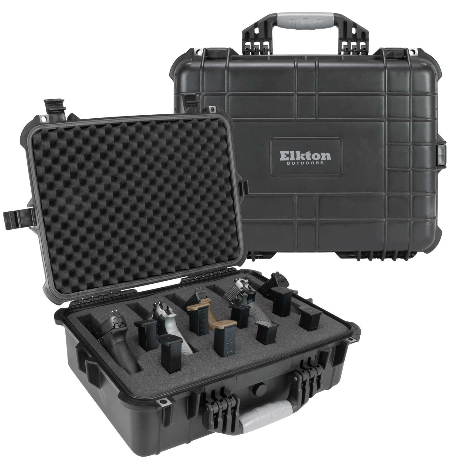 Elkton Outdoors Hard Gun Case: Fully Customizable Pistol Case: Holds 5 Handguns and 10 Magazines: Crush Resistant & Waterproof! by Elkton Outdoors (Image #1)