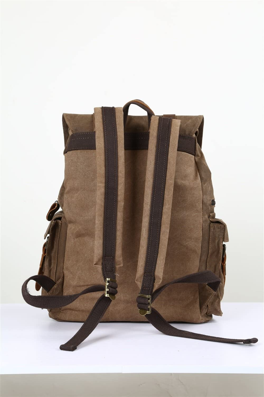 TongLing Mens Shoulder Bag Oil Canvas Bag with Crazy Horse Leather Bag Backpack 15.6-inch Waterproof Outdoor Leisure Trend Color : Orange, Size : M