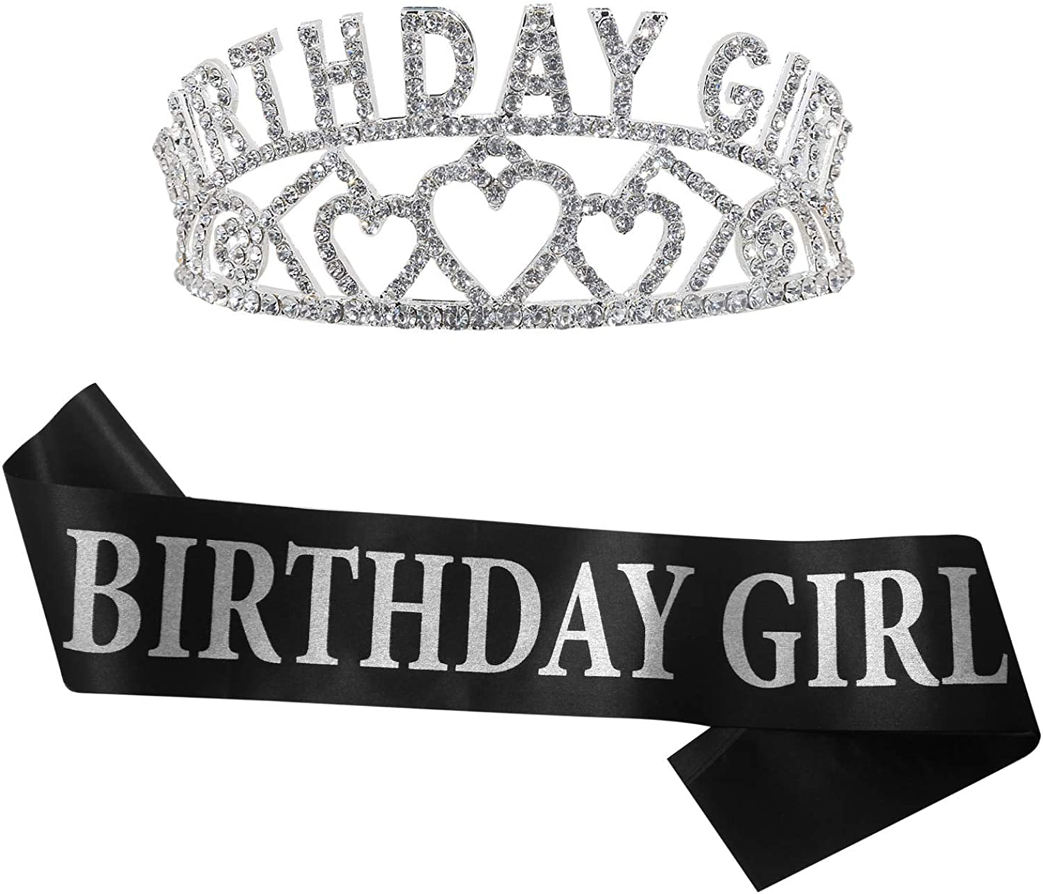 B4MBOO Best Quality Tiara and Birthday Queen Sash Favors 2-Pack Decorations Cute Satin Sash and Crown Crystal Rhinestone Birthday Tiara for Girls and Ladies| Happy Birthday Party Supplies