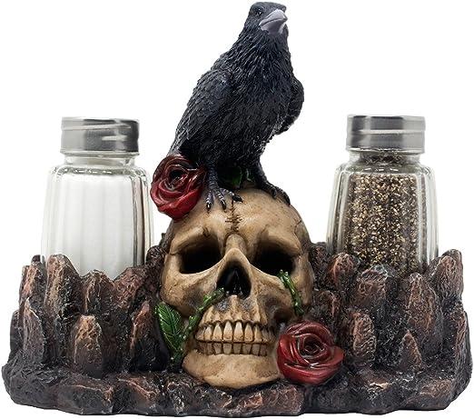Bone Chilling Raven on calavera humanos Juego de salero y ...