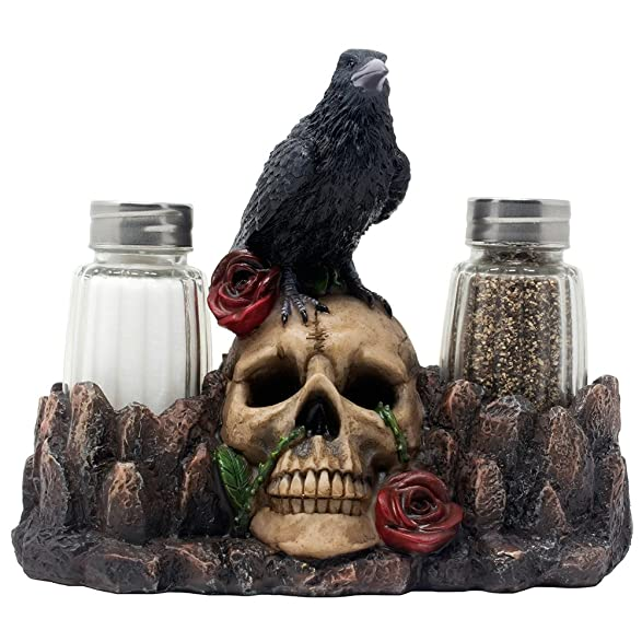 Fantastical Bird Salt And Pepper Shakers. Amazon com  Bone Chilling Raven on Human Skull Salt and Pepper Shaker Set with Decorative Display Stand Figurine for Scary Halloween Decorations or Medieval